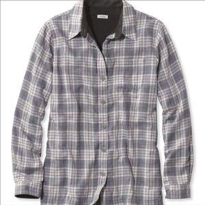 NWOT Womens LL Bean Fleece Lined Flannel Gray
